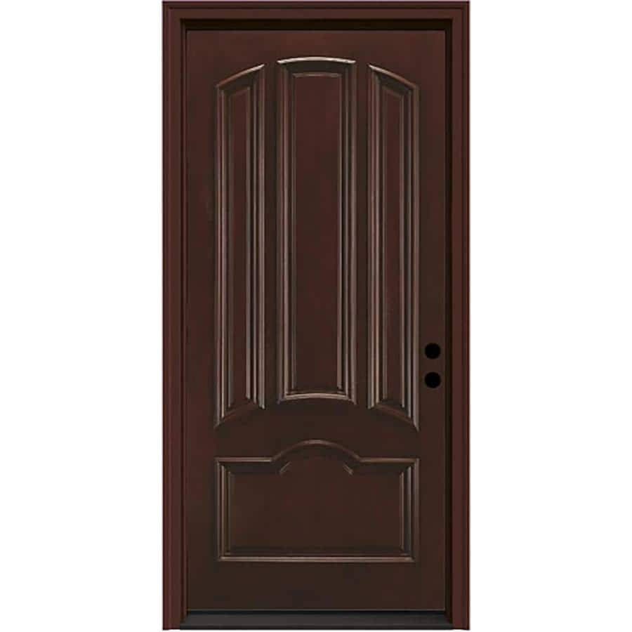 JELD-WEN Aurora 4-panel Insulating Core Left-Hand Inswing Sequoia Fiberglass Stained Prehung Entry Door (Common: 36-in x 80-in; Actual: 37.5-in x 81.75-in)
