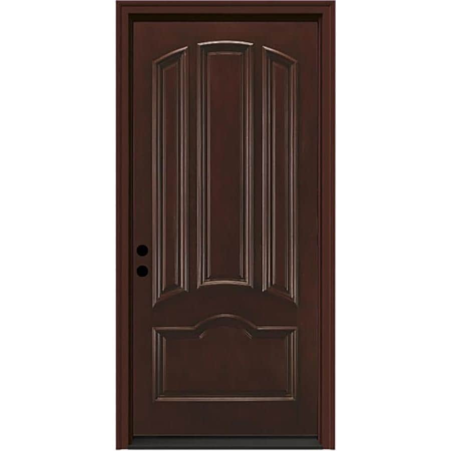 JELD-WEN Aurora 4-panel Insulating Core Right-Hand Inswing Sequoia Fiberglass Stained Prehung Entry Door (Common: 36-in x 80-in; Actual: 37.5-in x 81.75-in)