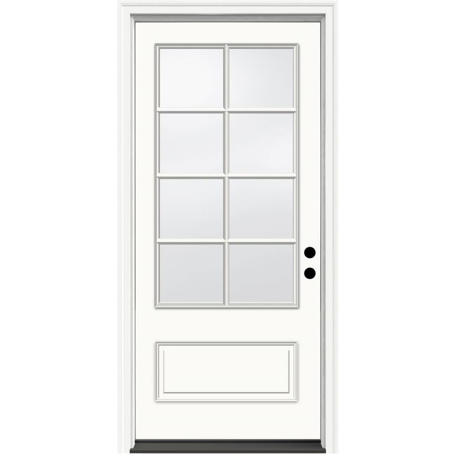JELD-WEN Aurora 1-Panel Insulating Core 3/4 Lite Left-Hand Inswing Ivory Fiberglass Painted Prehung Entry Door (Common: 36-in x 80-in; Actual: 37.5-in x 81.75-in)
