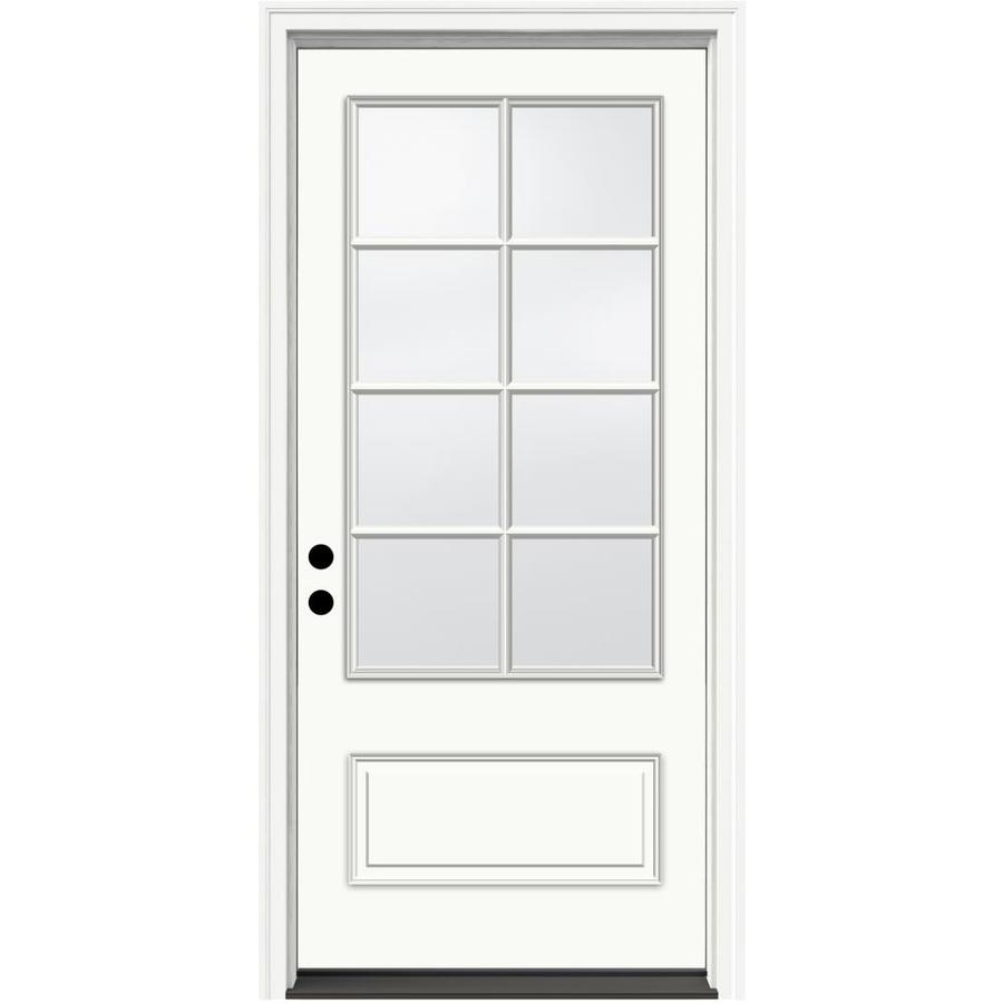 JELD WEN Aurora Decorative Glass Right Hand Inswing Ivory Painted  Fiberglass Prehung Entry Door