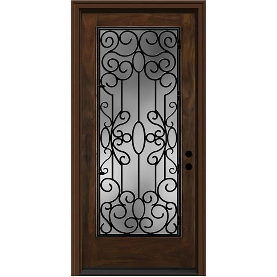 JELD-WEN Aurora Decorative Glass Left-Hand Inswing Caramel Stained Fiberglass Prehung Entry Door with Insulating Core (Common: 36-in x 80-in; Actual: 37.5000-in x 81.7500-in)