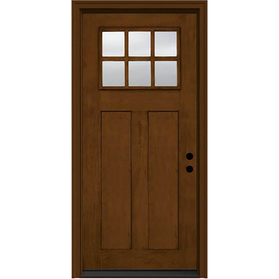 JELD-WEN Craftsman Decorative Glass Left-Hand Inswing Cashmere Stained Fiberglass Prehung Entry Door with Insulating Core (Common: 36-in x 80-in; Actual: 37.5000-in x 81.7500-in)