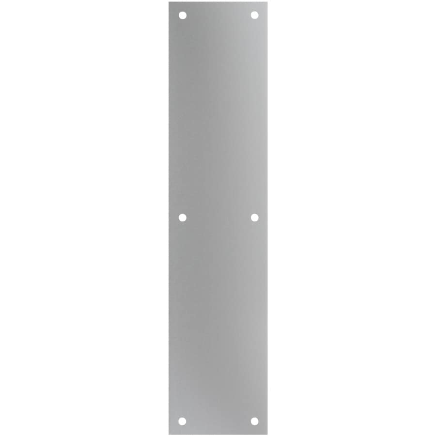 Shop gatehouse 3 5 in x 15 in satin nickel entry door push for Door push plates