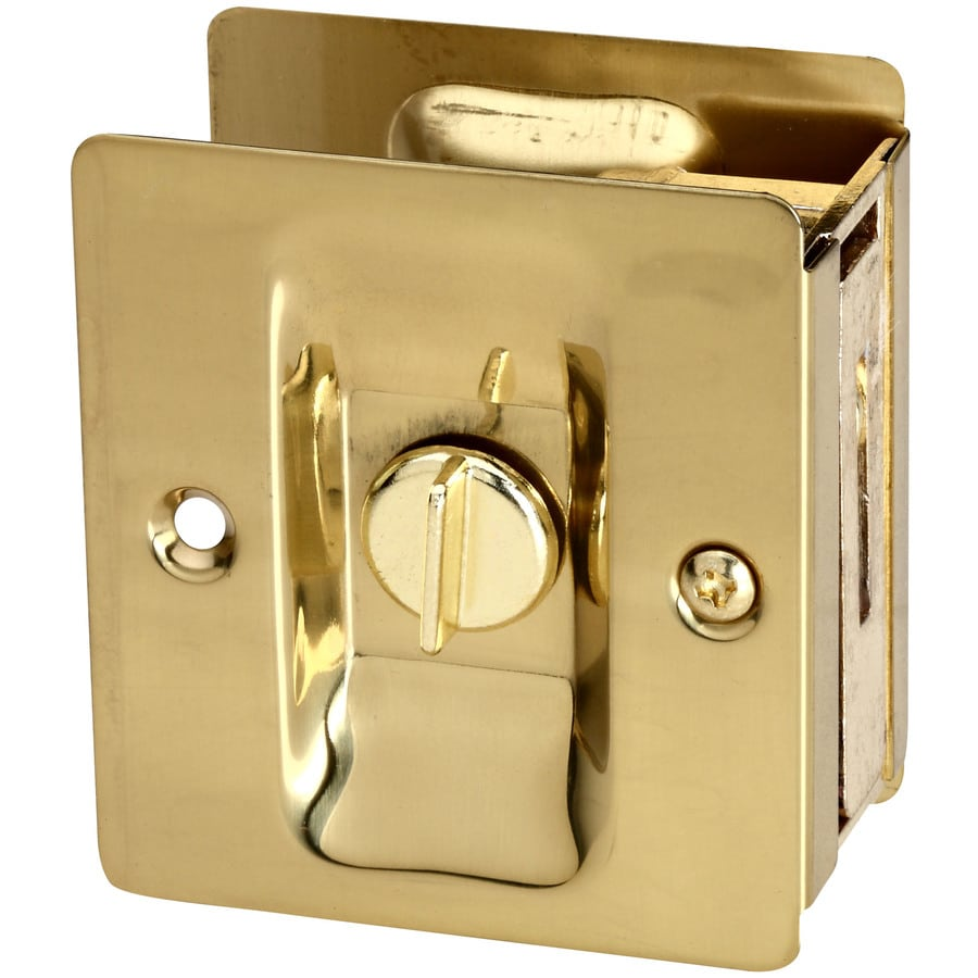 Stanley-National Hardware 2.75-in Polished Brass Privacy Pocket Door Pull