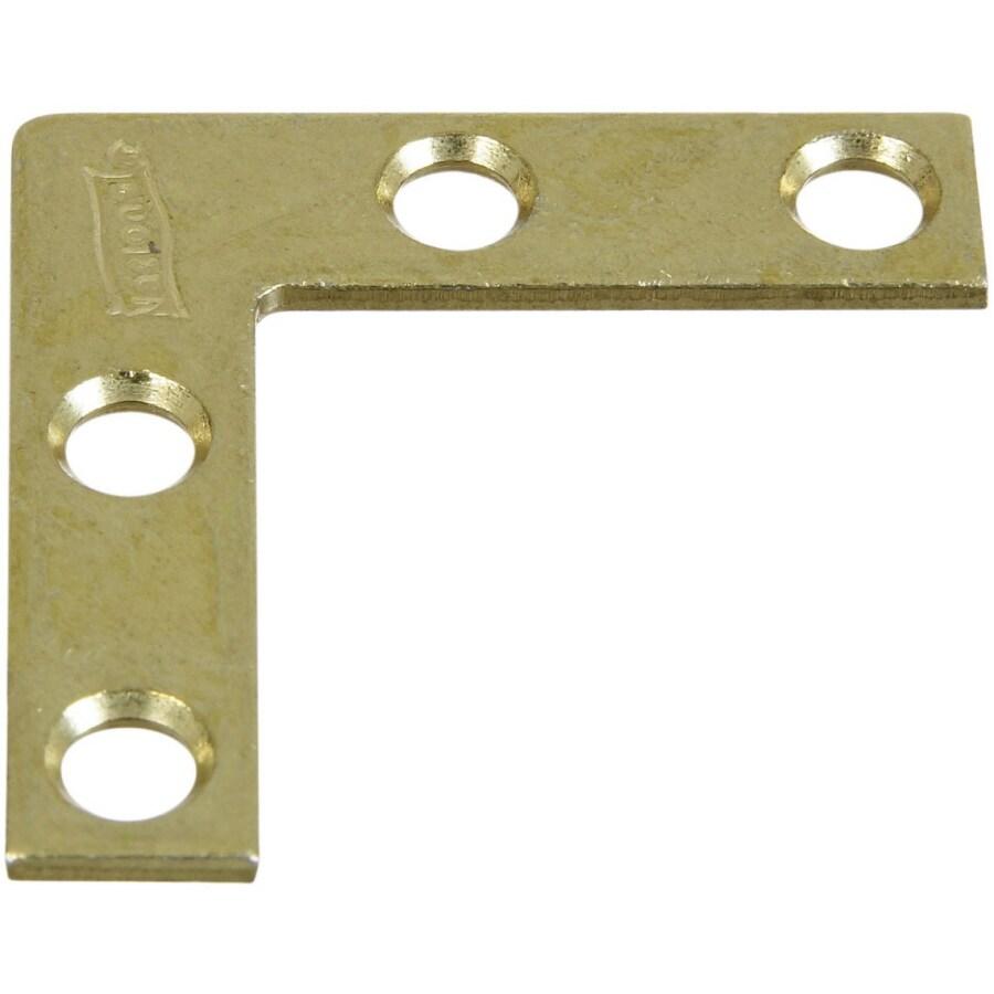 Stanley-National Hardware 4-Pack 0.375-in x 1.5-in x Brass Flat Brace