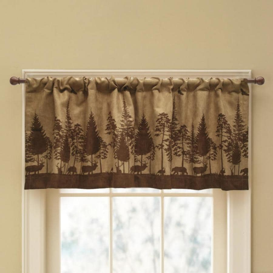 Style Selections Woodland Scenic 19-in Brown Polyester Rod Pocket Valance