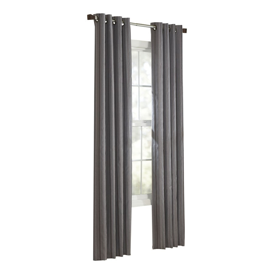 allen + roth City Park 84-in L Striped Slate Grommet Window Curtain Panel