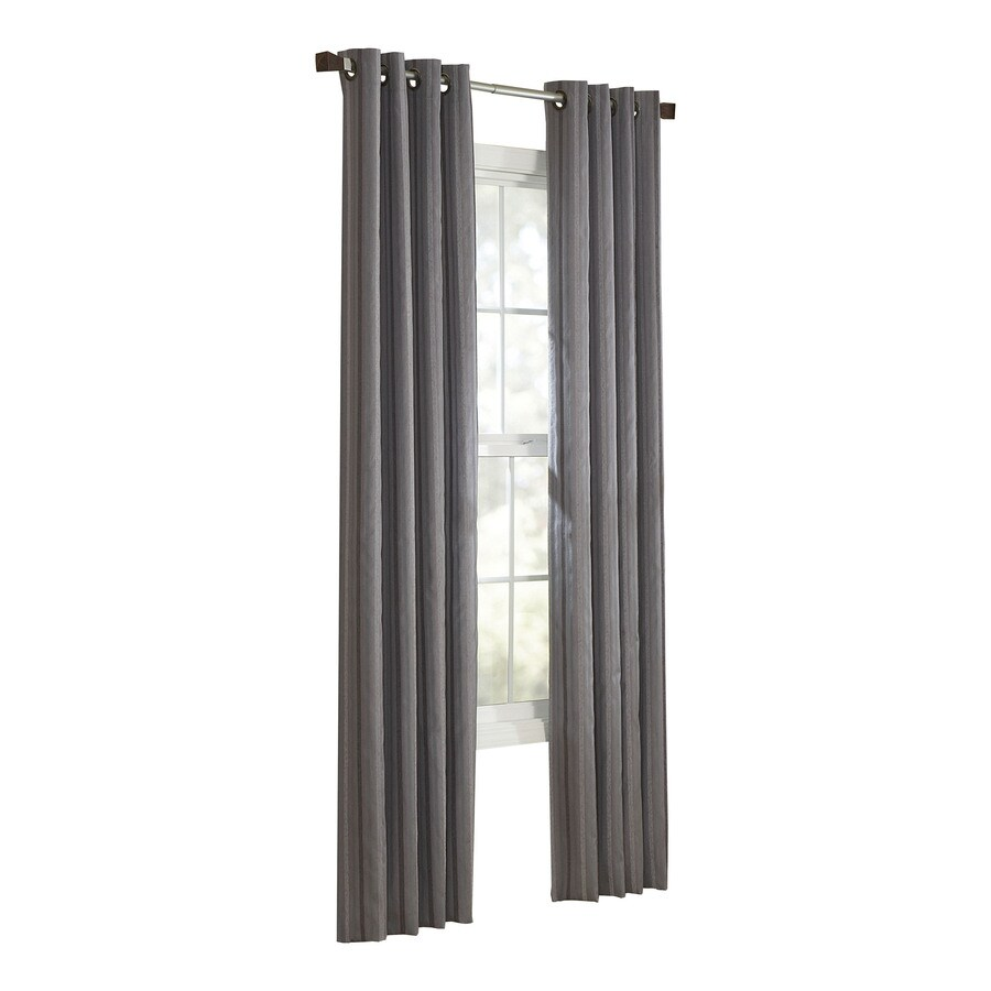 allen + roth City Park 95-in Slate Polyester Grommet Light Filtering Single Curtain Panel