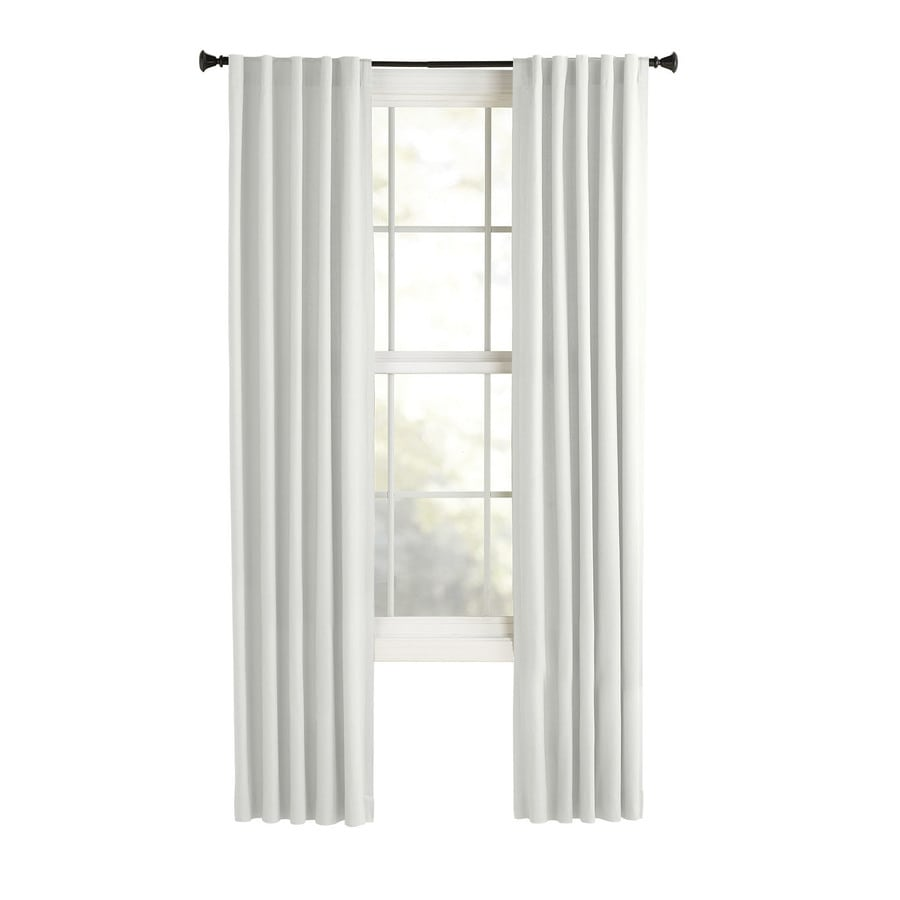 Style Selections Bernard 63-in White Polyester Back Tab Light Filtering Single Curtain Panel