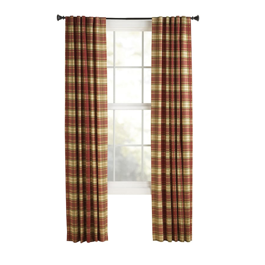 Style Selections Bernard 84 In Red Plaid Polyester Back Tab Light Filtering Single Curtain Panel