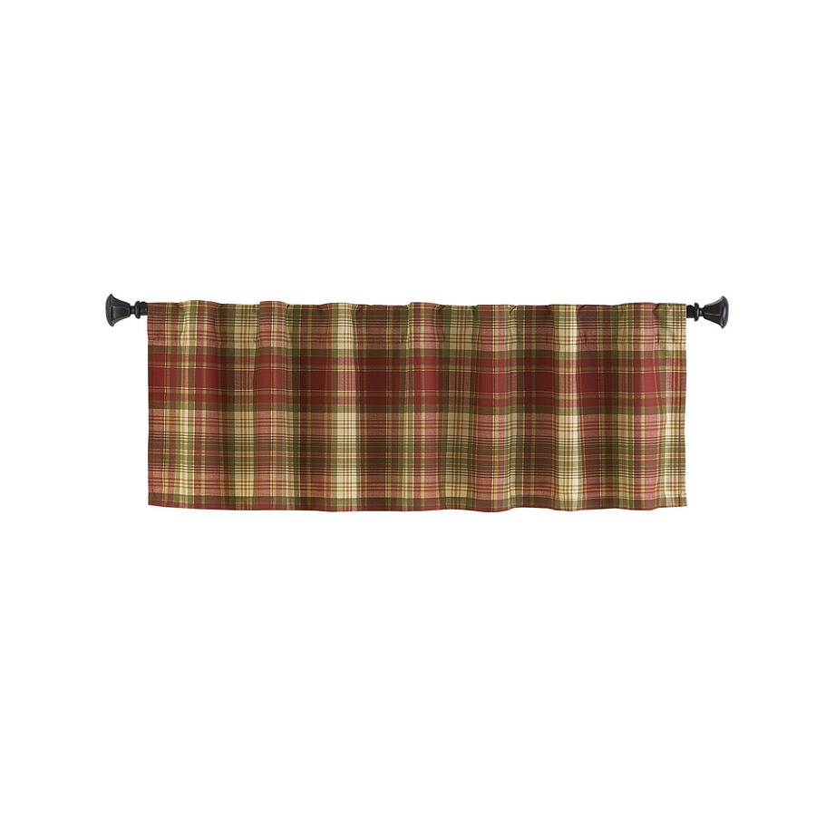 Style Selections Bernard 15-in Red Multicolor Polyester Back Tab Valance