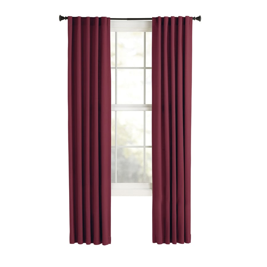 Style Selections Bernard 84-in Red Polyester Back Tab Light Filtering Single Curtain Panel