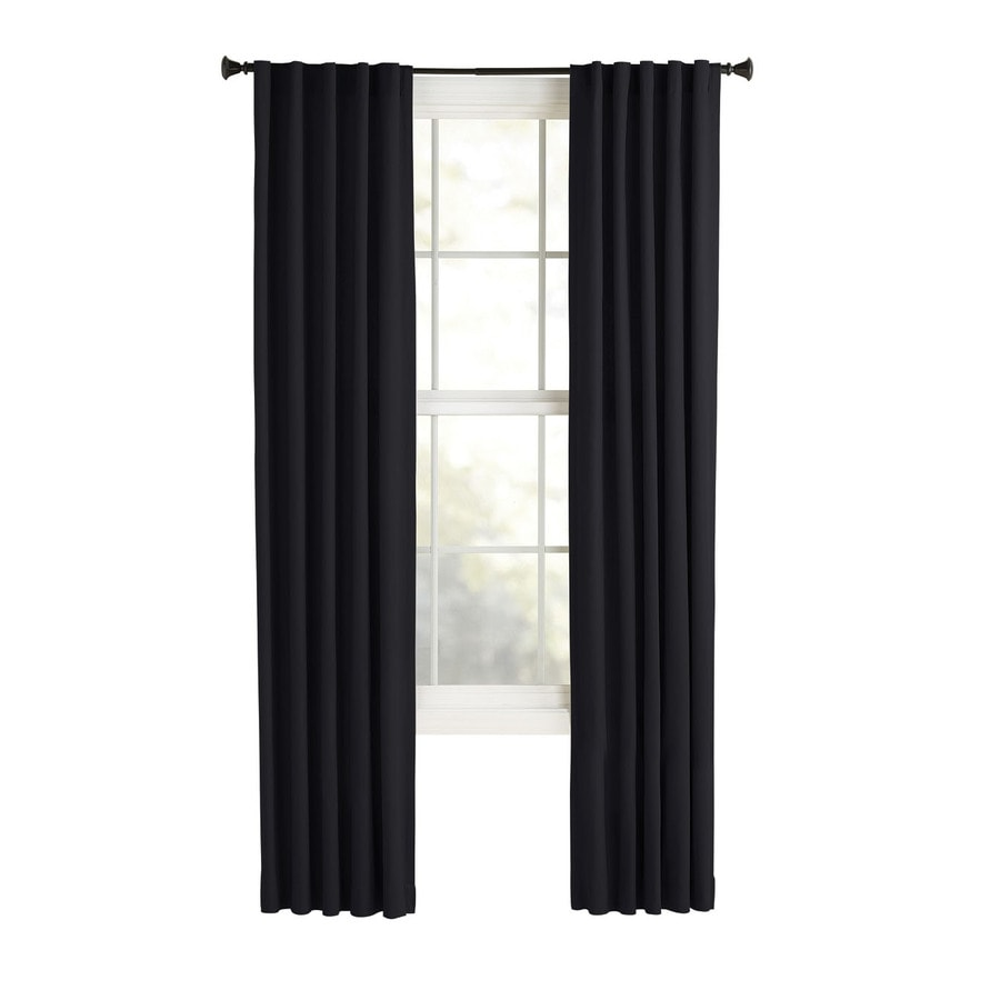 Style Selections Bernard 63-in Black Polyester Back Tab Light Filtering Single Curtain Panel