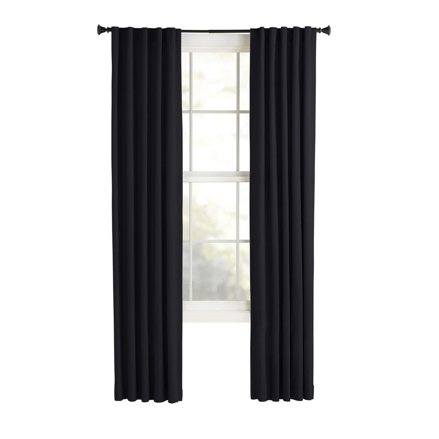 Style Selections Bernard 84-in Black Polyester Back Tab Light Filtering Single Curtain Panel