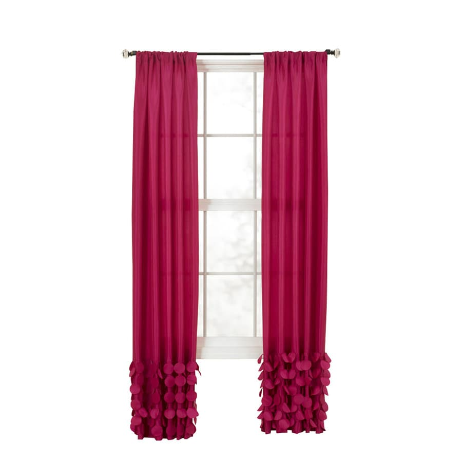 Style Selections Lavena 84-in Fuchsia Polyester Rod Pocket Single Curtain Panel