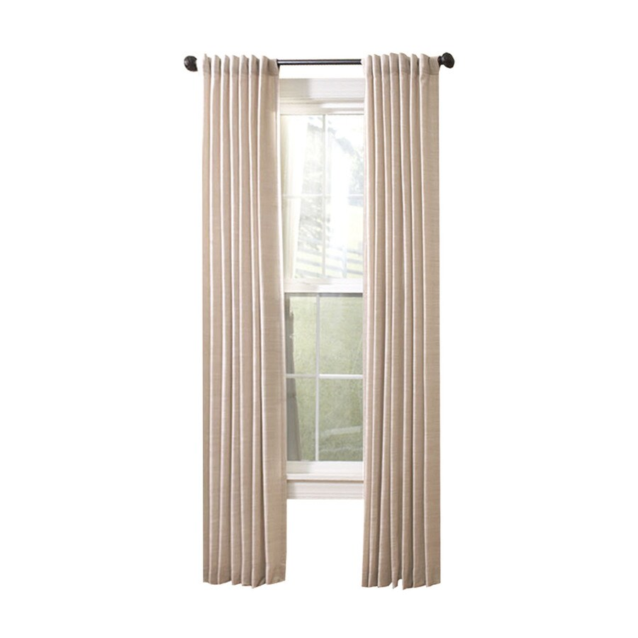 allen + roth Evington 84-in Dove Cotton Back Tab Light Filtering Single Curtain Panel