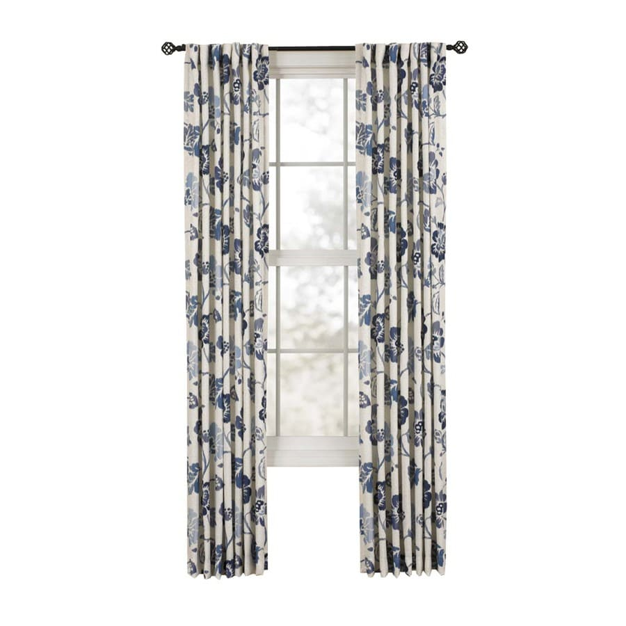 Style Selections Tombolo 84-in Sky Polyester Back Tab Single Curtain Panel