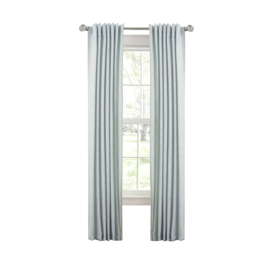 allen + roth Evington 95-in Mineral Blue Cotton Back Tab Light Filtering Single Curtain Panel