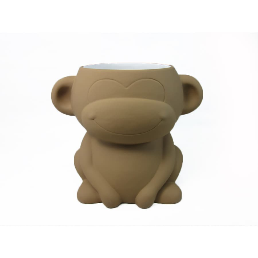 Style Selections Zoo Animals Brown with Rubberized Finish Ceramic Wastebasket