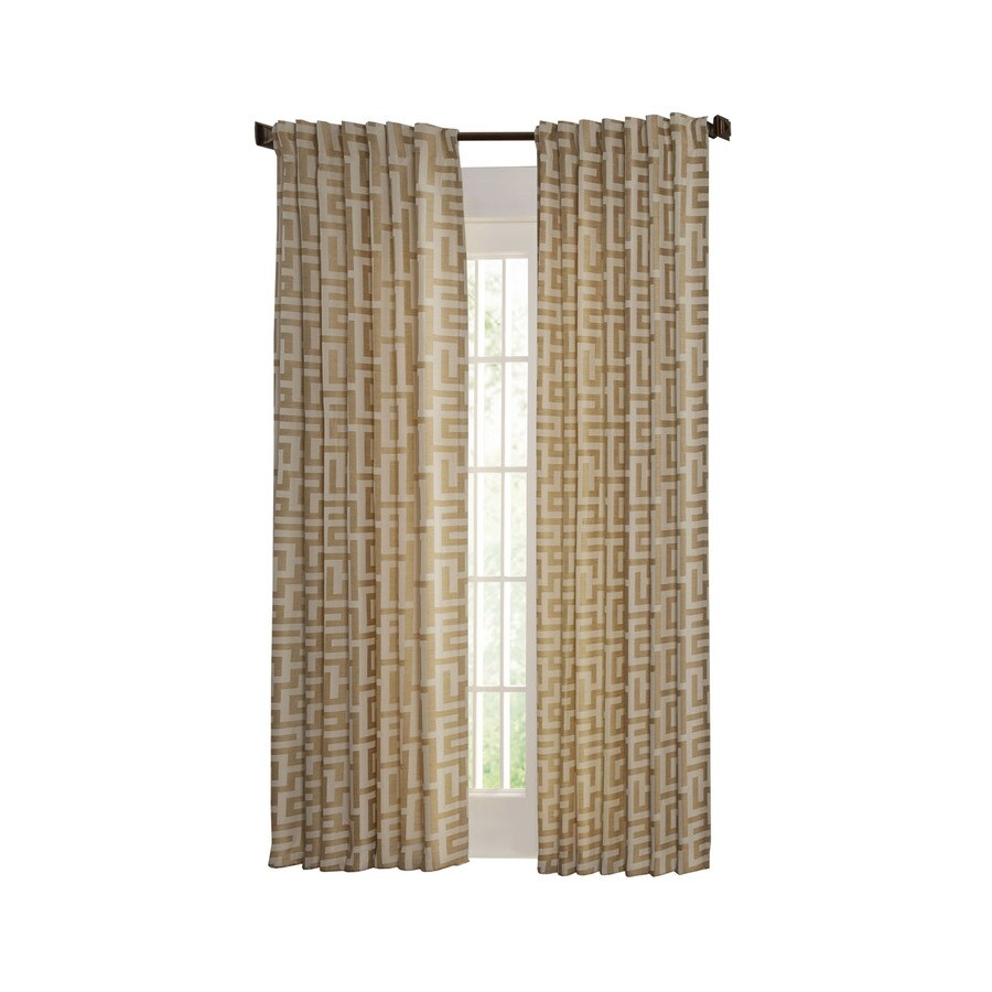 allen + roth Tafford 63-in Straw Polyester Back Tab Light Filtering Single Curtain Panel