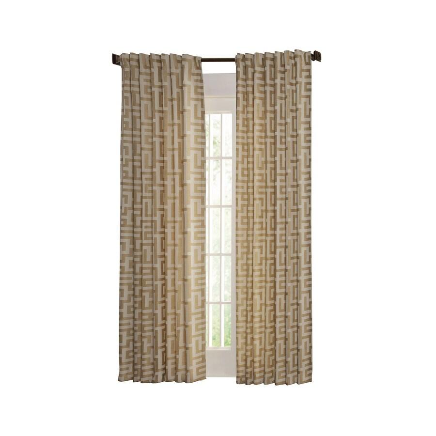 allen + roth Tafford 95-in L Geometric Straw Back Tab Curtain Panel