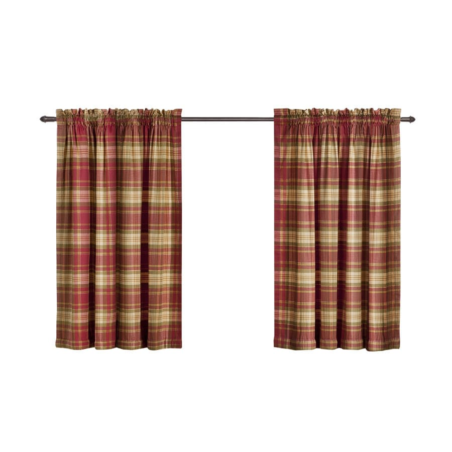 Gentil Style Selections Bernard Plaid 36 In Red Multi Polyester Rod Pocket Light  Filtering Curtain Panel