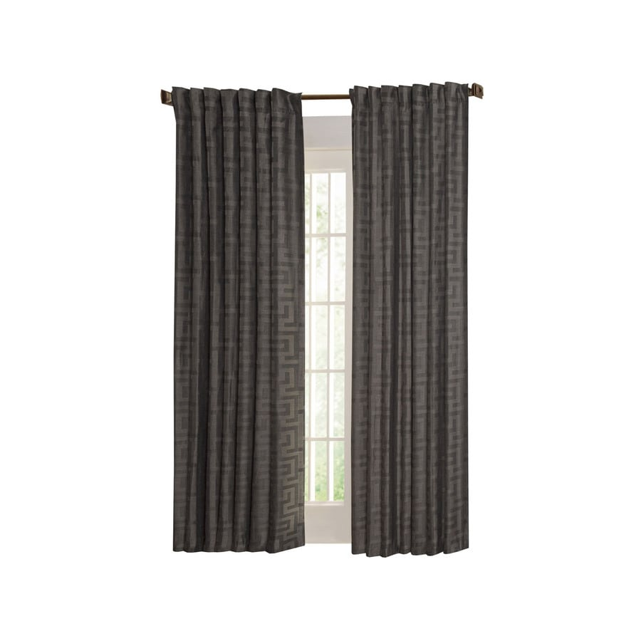 allen + roth Tafford 63-in L Geometric Pewter Back Tab Curtain Panel