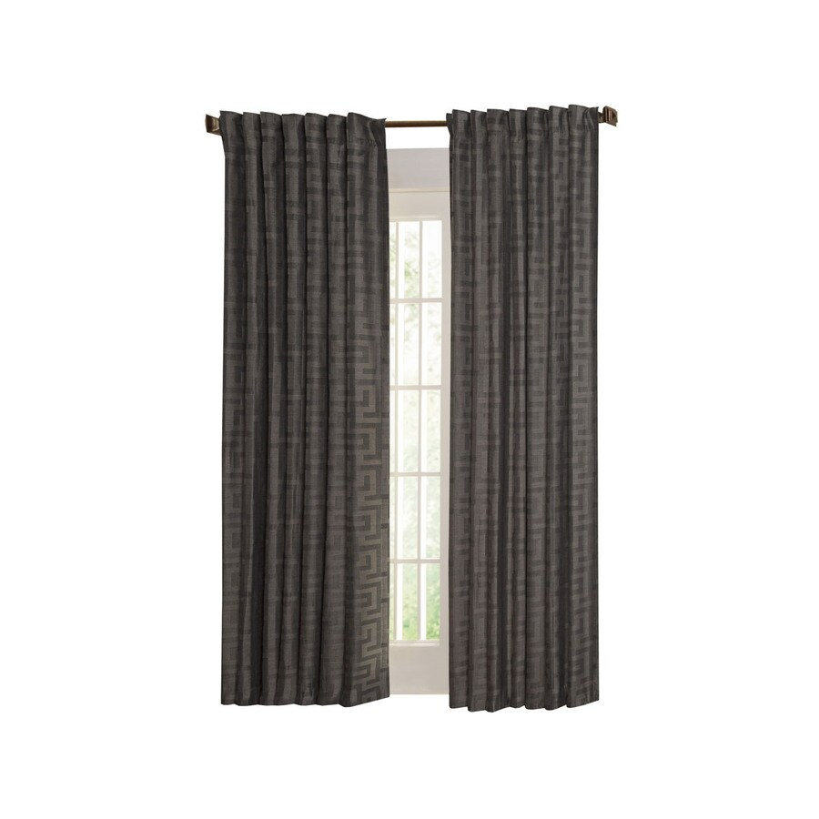 allen + roth Tafford 95-in L Geometric Pewter Back Tab Curtain Panel