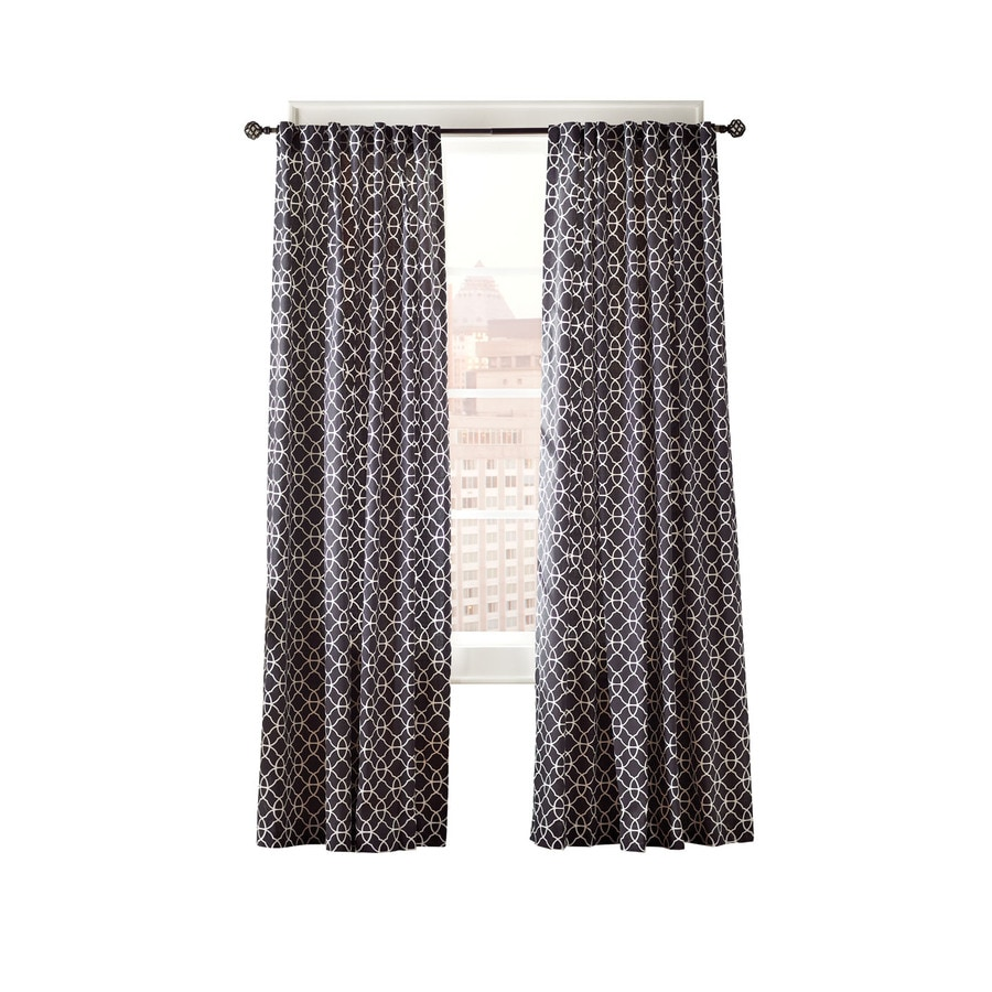 Simply Classic Terrace 95-in L Geometric Black Back Tab Curtain Panel