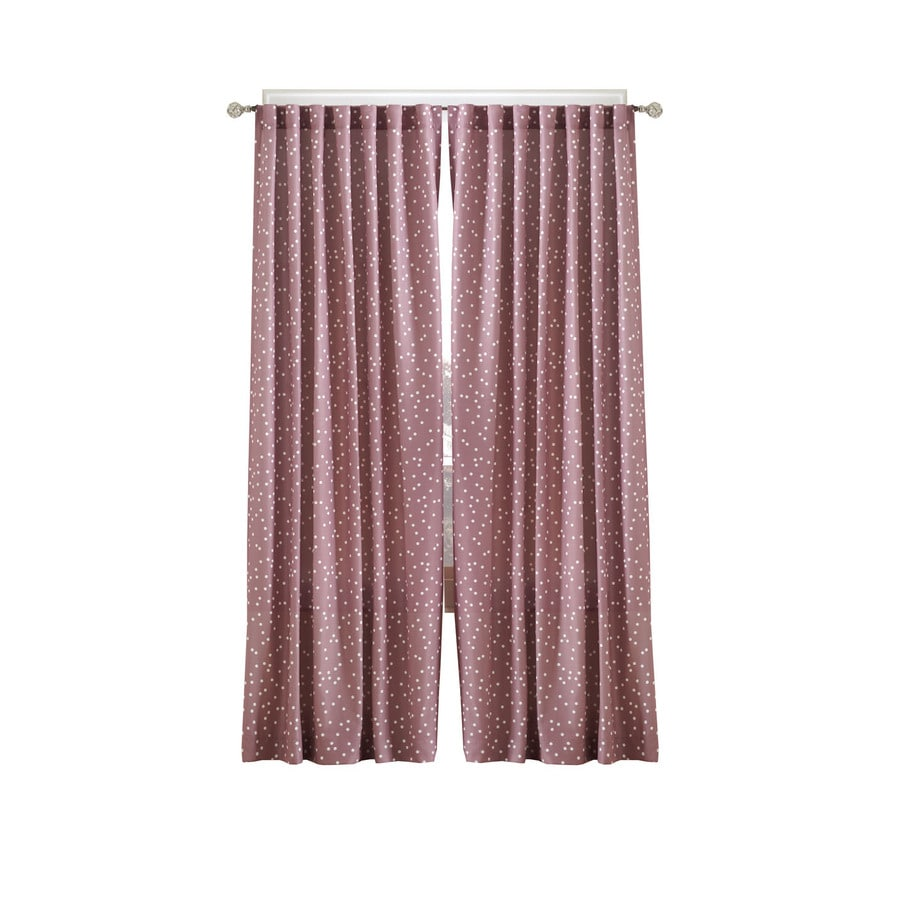 Simply Classic Dots 95-in Plumrose Polyester Back Tab Single Curtain Panel