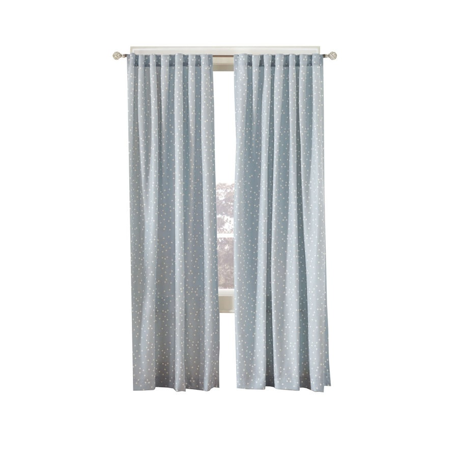 Simply Classic Dots 95-in Vintage Blue Polyester Back Tab Light Filtering Single Curtain Panel