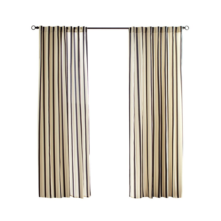 Solaris Cabana Stripe 96 In Black Polyester Back Tab Light Filtering Single Curtain Panel