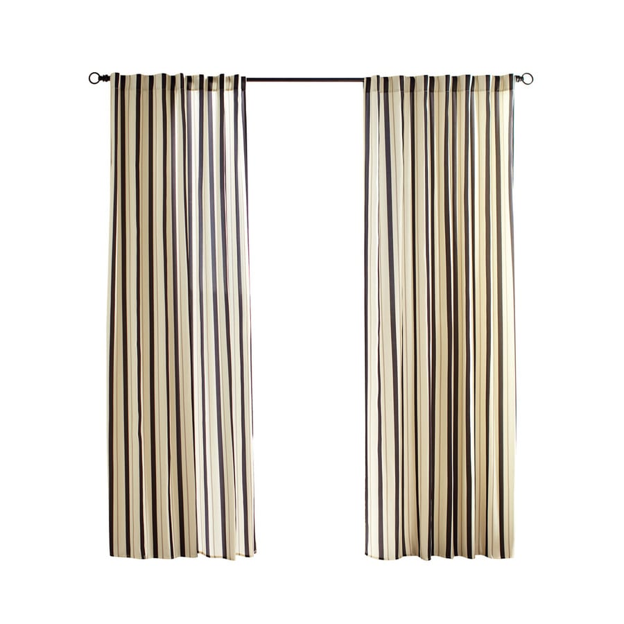 Solaris Cabana Stripe 108 In Black Polyester Back Tab Light Filtering Single Curtain Panel