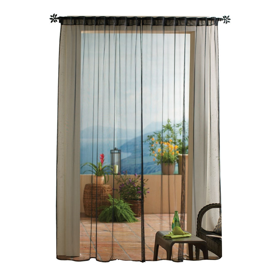 Solaris Mesh 108 In Black Polyester Back Tab Sheer Single Curtain Panel