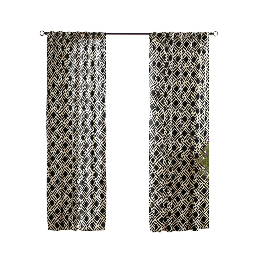 Solaris Trellis 96-in Black Polyester Back Tab Light Filtering Single Curtain Panel