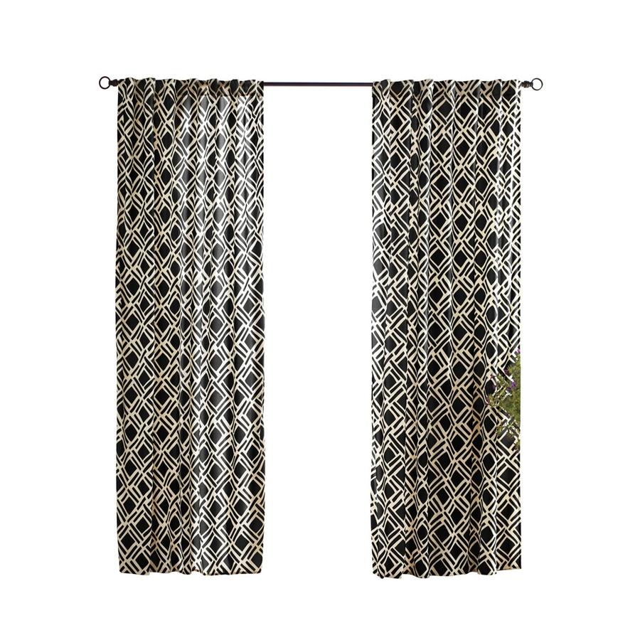 Solaris Trellis 108-in Black Polyester Back Tab Light Filtering Single Curtain Panel