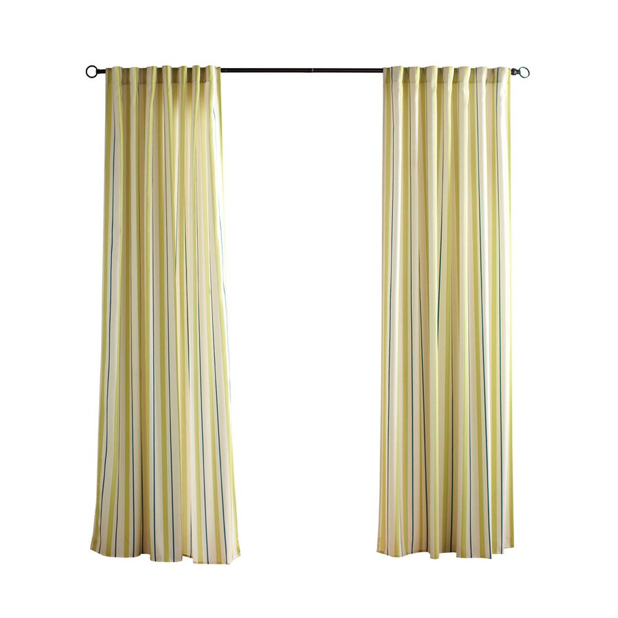 Solaris Cabana Stripe 96-in Kiwi Polyester Back Tab Light Filtering Single Curtain Panel