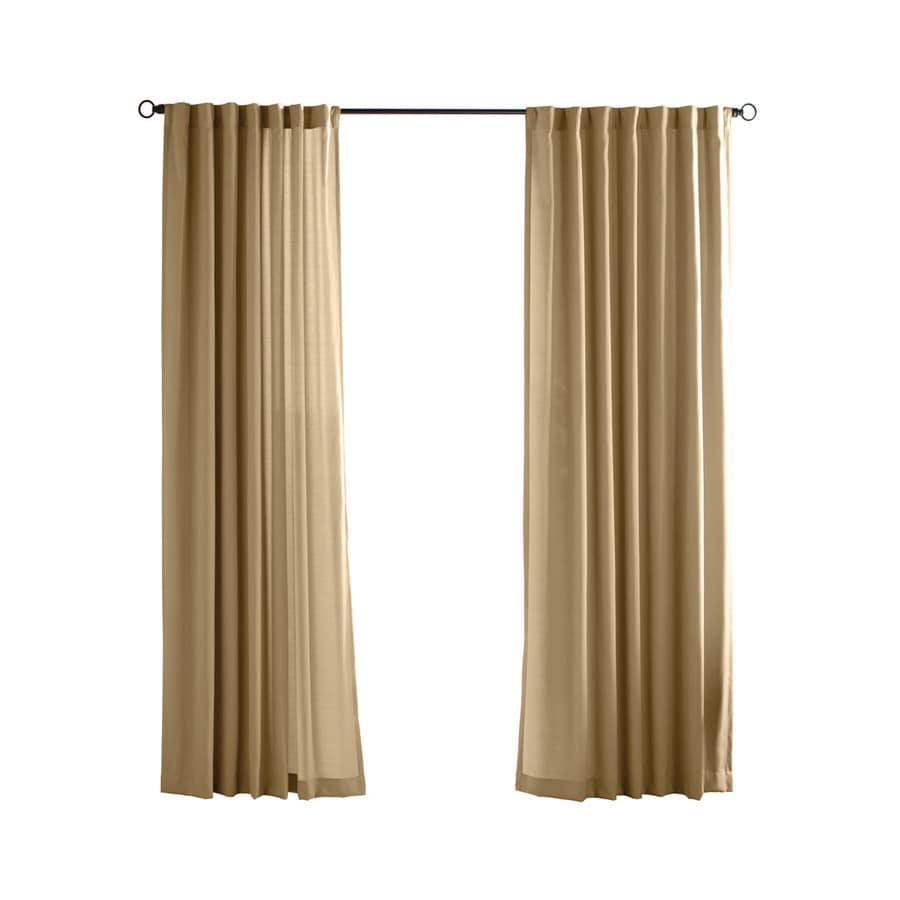 Solaris Canvas Solid 96-in Khaki Polyester Back Tab Light Filtering Single Curtain Panel