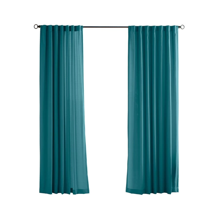 Solaris Canvas Solid 108-in Teal Polyester Back Tab Light Filtering Single Curtain Panel