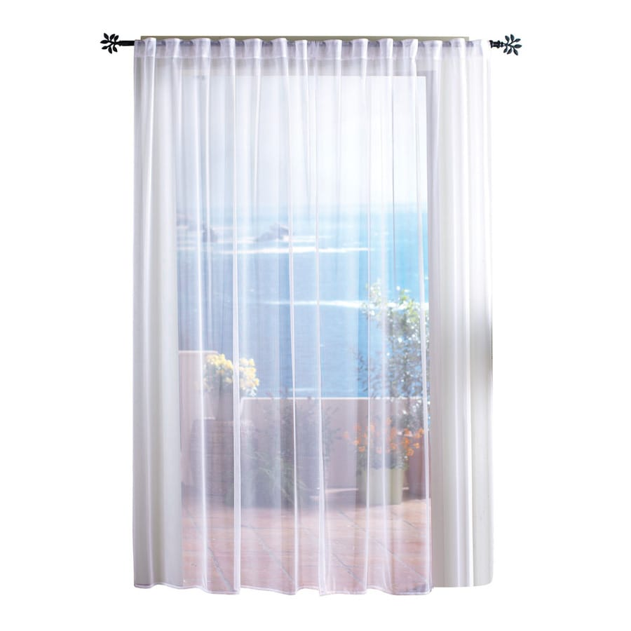 Solaris Mesh 108 In White Polyester Back Tab Sheer Single Curtain Panel
