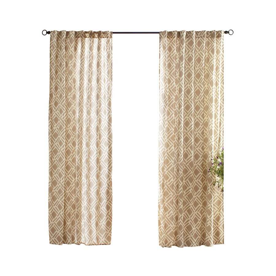 Solaris Trellis 96-in Khaki Polyester Back Tab Light Filtering Single Curtain Panel