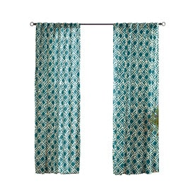 Solaris Trellis 96 In Teal Polyester Back Tab Light Filtering Single Curtain  Panel