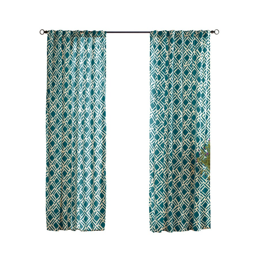 Solaris Trellis 108-in Teal Polyester Back Tab Light Filtering Single Curtain Panel