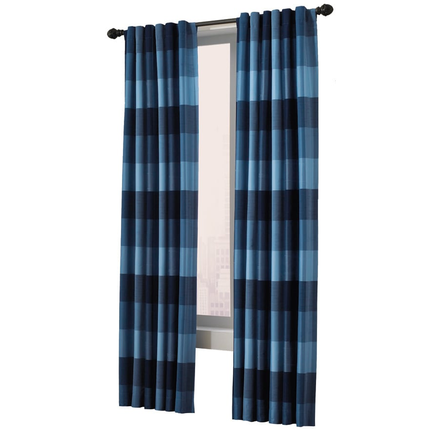 allen + roth Emilia 63-in Blue Polyester Back Tab Light Filtering Standard Lined Single Curtain Panel
