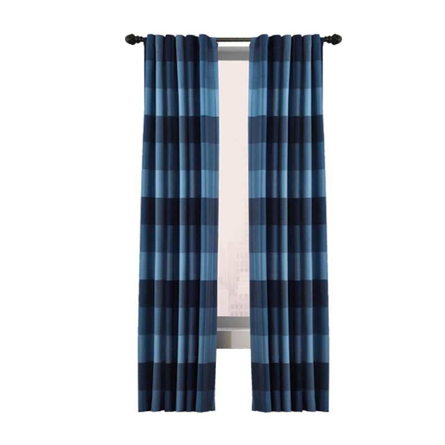 allen + roth Emilia 95-in Blue Polyester Back Tab Light Filtering Standard Lined Single Curtain Panel