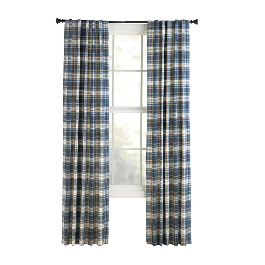 Style Selections Bernard 63-in Blue Cotton Back Tab Light Filtering Single Curtain Panel