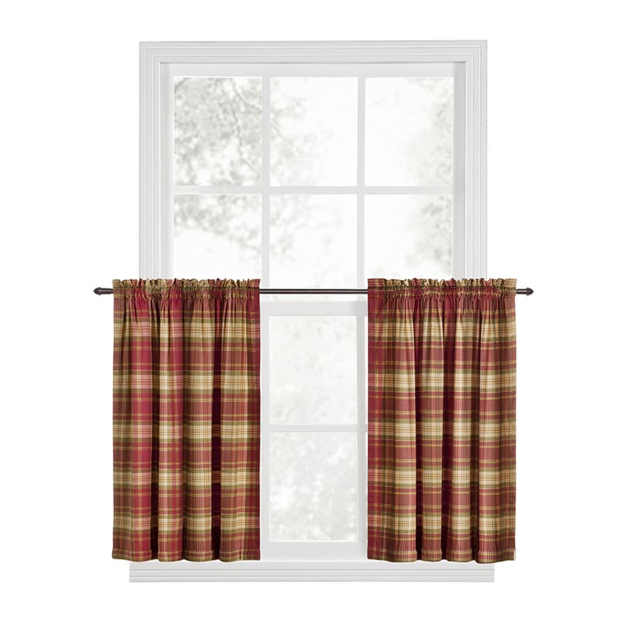 Style Selections Bernard 63-in Red Cotton Back Tab Light Filtering Single Curtain Panel