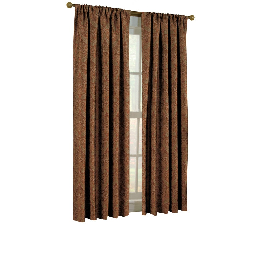 allen + roth Raja 63-in Paprika Polyester Rod Pocket Light Filtering Standard Lined Single Curtain Panel