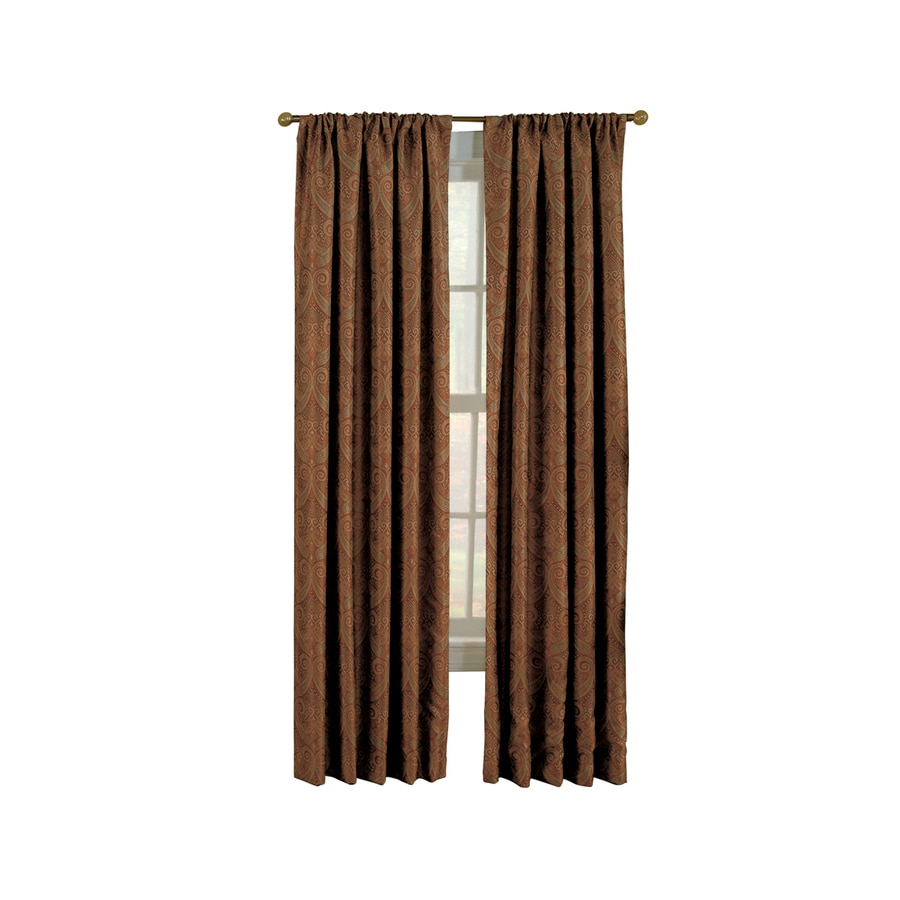 allen + roth Raja 95-in Paprika Polyester Rod Pocket Light Filtering Standard Lined Single Curtain Panel