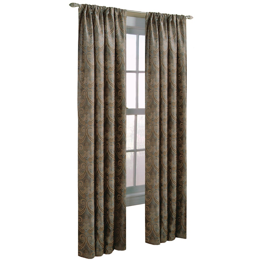 allen + roth Raja 63-in Steel Polyester Rod Pocket Light Filtering Standard Lined Single Curtain Panel